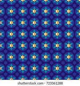gold blue star of david background pattern