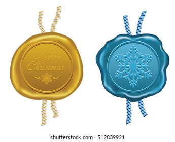 gold and blue wax seal