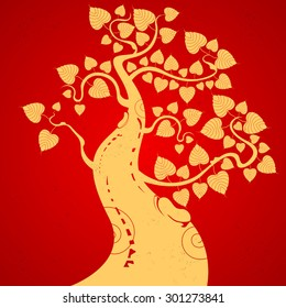 Gold bodhi tree on a red background
