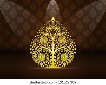 Gold Bodhi tree on Thai art golden brown pattern seamless background, illustration vector eps10.