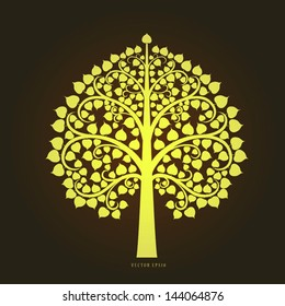 Gold Bodhi tree in Thai art style, vector eps10