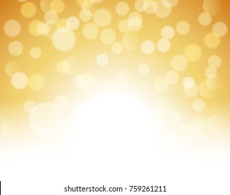 Gold bokeh abstract festive background. Golden christmas light shine bright holiday magic decoration.