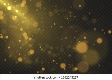 Gold bokeh effect isolated on dark transparent background