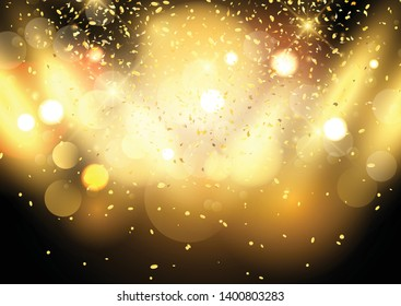 Gold bokeh lights background with confetti and spotlights