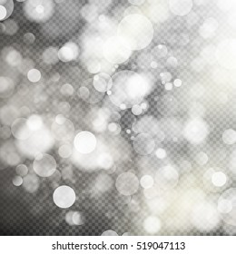 Gold bokeh lights and sparkles on transparent background. EPS 10 vector file included
