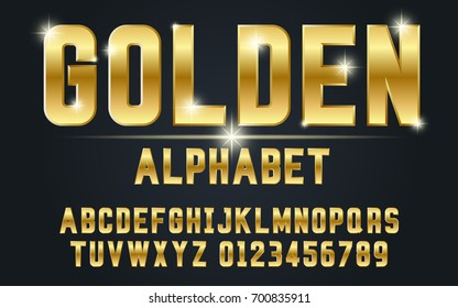 Gold bold typeface set style modern.Decorative alphabet vector fonts and numbers.Typography design for headlines, labels, posters, logos, cover, etc.