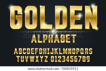 gold bold typeface set style modern decorative stock vector royalty