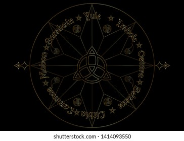 Gold Book Of Shadows Wheel Of The Year Modern Paganism Wicca. Wiccan calendar and holidays. Golden Compass with in the middle Triquetra symbol from charmed celtic. Vector isolated on black background