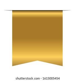 Gold bookmark banner 3D. Vertical book mark, isolated on white background. Color golden tag, label. Flag symbol, sign. Design element blank. Empty sticker sale. Template banner Vector illustration