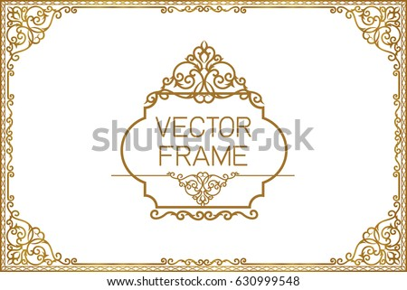 gold border design frame photo template のベクター画像素材