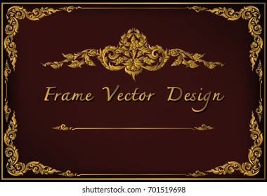 Gold border invitation vector template. frame with corner thailand line floral for picture, Vector certificate design decoration pattern style.frame border design is pattern Thai style