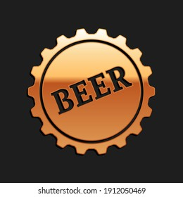 Gold Bottle cap with beer text icon isolated on black background. Long shadow style. Vector.