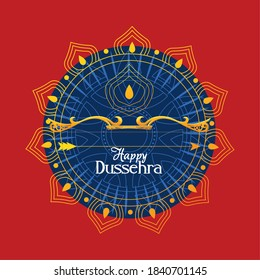 gold bow with arrow in front of blue mandala ornament design, Happy dussehra lord ram festival and indian theme Vector illustration