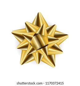 Gold bow isolated on the white background. Vector illustration