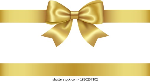 gold bow and ribbon vector