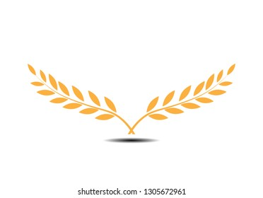 Gold Branches of olives symbol of victory.Vector illustration  flat silhouette  black  white  icon  object for design  laurel  wreath  awards  roman victory  crown  winner.Vector illustration EPS 10.