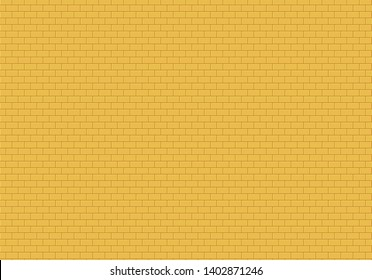 Gold brick wall background. Yellow bricks texture seamless pattern vector.