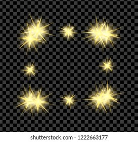 Gold bright glowing and shining star flares effect isolated on transparent background. Vector illustration
