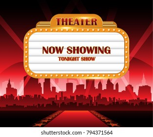 Gold brightly theater glowing retro vintage cinema neon sign with city in background