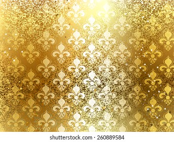 Gold brocade background with ornament of Fleur de Lis.