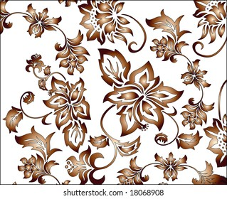 Gold and brown flowery pattern