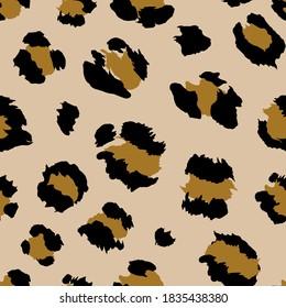 Gold brown leopard seamless pattern
