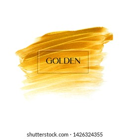 Gold brush paint stroke isolated background - Vector