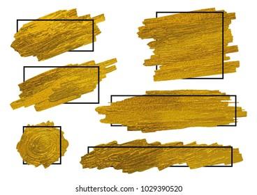 Gold brush stoke texture on white background with black line frame vector illustration