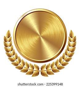 Gold brushed medal with wreath. Eps8. CMYK. Global colors. Organized by layers. Gradients used.