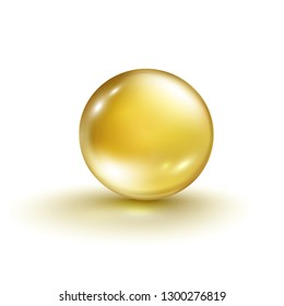 Gold bubble isolated on white background. Cosmetic pill capsule of vitamin E, A or argan oil. Golden glass ball template. Vector realistic gold serum droplet of drug or collagen essence.