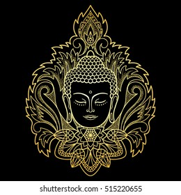 Gold Buddha head with floral decoration. Sign for tattoo, textile print, mascots and amulets on black background.