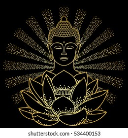 Gold Buddha and Lotus with beam of light isolated on black background. Sign for tattoo, textile print, mascots and amulets.