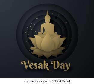 gold buddha on lotus Happy vesak day background.