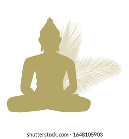 Gold Buddha silhouette with palms branches in behind, vector logo template