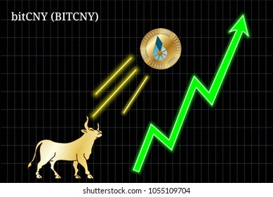 Gold bull, throwing up Bitcny (BITCHY) cryptocurrency golden coin up the trend. Bullish Bitcny (BITCHY) chart