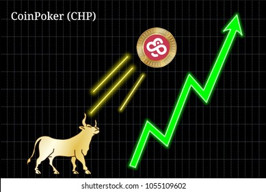 Gold bull, throwing up CoinPoker (CHP) cryptocurrency golden coin up the trend. Bullish CoinPoker (CHP) chart