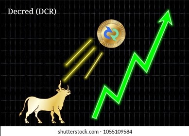 Gold bull, throwing up Decred (DCR) cryptocurrency golden coin up the trend. Bullish Decred (DCR) chart