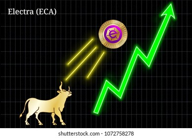 Gold bull, throwing up Electra (ECA) cryptocurrency golden coin up the trend. Bullish Electra (ECA) chart