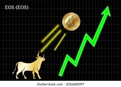Gold bull, throwing up EOS (EOS) cryptocurrency golden coin up the trend. Bullish EOS (EOS) chart