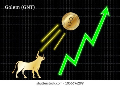 Gold bull, throwing up Golem (GNT) cryptocurrency golden coin up the trend. Bullish Golem (GNT) chart