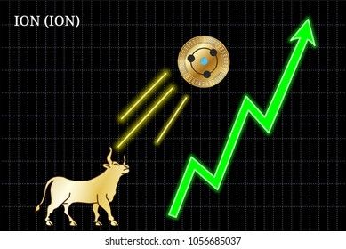 Gold bull, throwing up ION (ION) cryptocurrency golden coin up the trend. Bullish ION (ION) chart