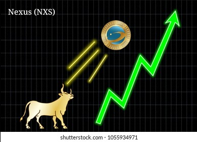Gold bull, throwing up Nexus (NXS) cryptocurrency golden coin up the trend. Bullish Nexus (NXS) chart