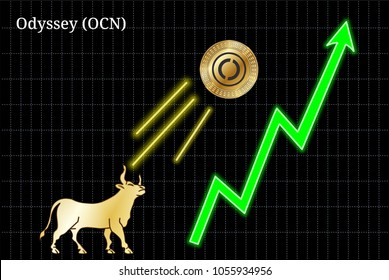 Gold bull, throwing up Odyssey (OCN) cryptocurrency golden coin up the trend. Bullish Odyssey (OCN) chart