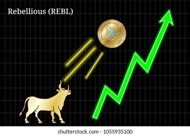 Gold bull, throwing up Rebellious (REBL) cryptocurrency golden coin up the trend. Bullish Rebellious (REBL) chart