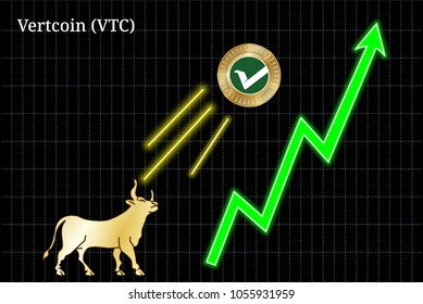 Gold bull, throwing up Vertcoin (VTC) cryptocurrency golden coin up the trend. Bullish Vertcoin (VTC) chart