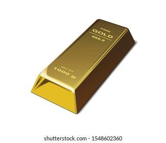 Gold bullion. Golden bar object. Financial concept. realistic vector illustration