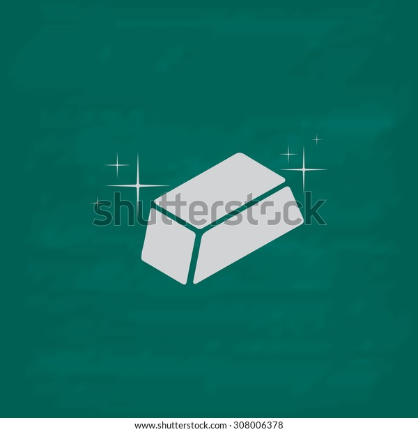 Gold bullion. Icon. Imitation draw with white chalk on green chalkboard. Flat Pictogram and School board background. Vector illustration symbol