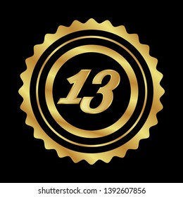 Gold button with 13 years anniversary . emblem, label, badge,sticker, logo. Designed for celebration or anniversary