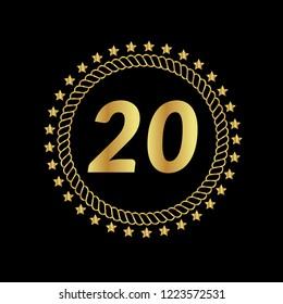 Gold button with 20 number. emblem, label, badge, logo