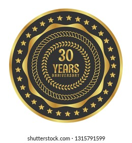 Gold button with 30 years anniversary . emblem, label, badge,sticker, logo. Designed for celebration or anniversary